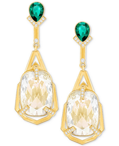 Swarovski Gold-Tone Clear & Green Crystal Linear Drop Earrings