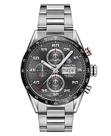 Men's Swiss Automatic Chronograph Carrera Steel Bracelet Watch 43mm