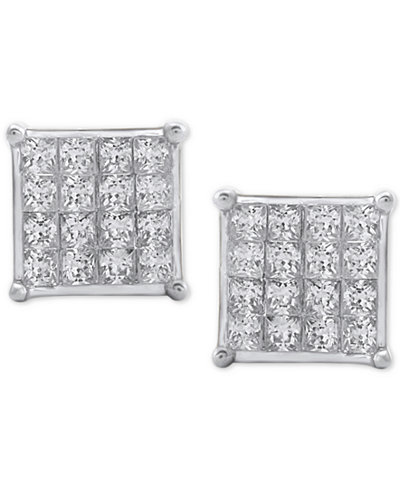 Diamond Square Cluster Stud Earrings (3/4 ct. t.w.) in 10K White Gold