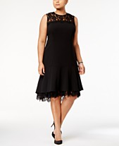 Calvin Klein Plus Size Lace-Trim A-Line Dress