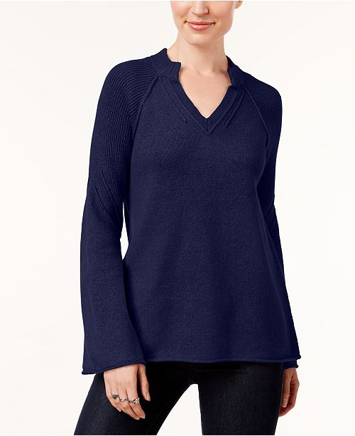 Style & Co Split-Neck Bell-Sleeve Sweater, Created for Macy's
