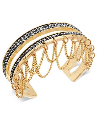 Thalia Sodi Gold-Tone Hematite Pavé & Chain Cuff Bracelet, Created for Macy's