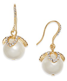Gold-Tone Imitation Pearl & Pavé Drop Earrings, Created for Macy's