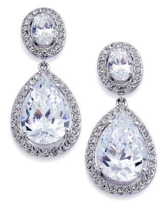 Silver-Tone Crystal Teardrop Drop Earrings, Created for Macy's