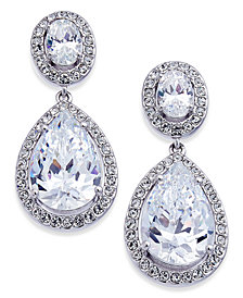 Danori Silver-Tone Crystal Teardrop Drop Earrings, Created for Macy's