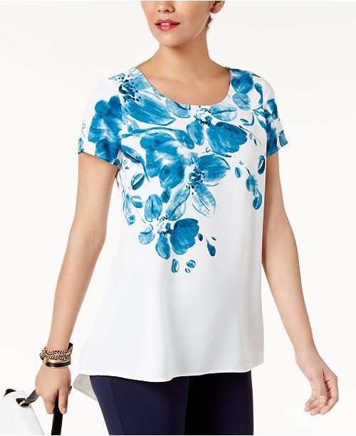 Alfani Petite Printed High-Low Top, Created for Macy's