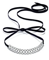 I.N.C. Silver-Tone Crystal Pavé Scalloped Black Ribbon Choker Necklace, Created for Macy's