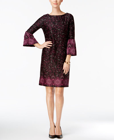 Charter Club Petite Printed Shift Dress, Created for Macy's