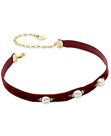 Paul & Pitü Naturally Gold-Tone Imitation Pearl Burgundy Velvet Choker Necklace