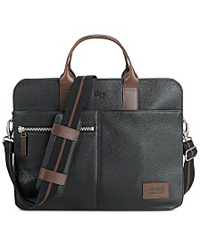 Solo Men's Brookfield Leather Slim Briefcase