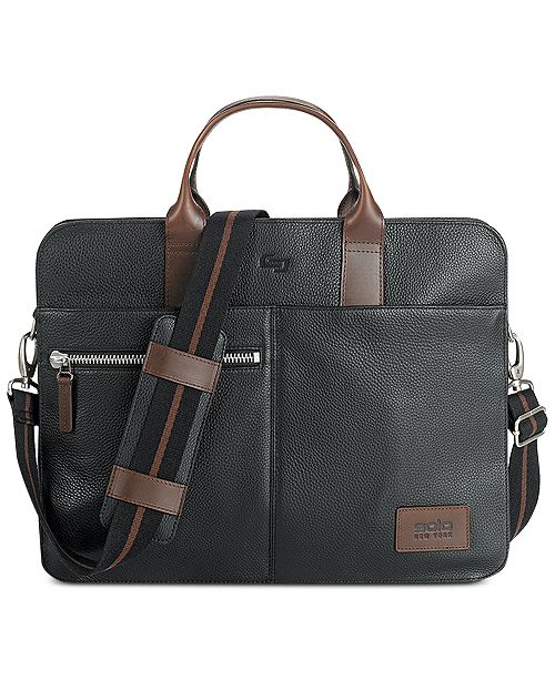 76e1644a1 Solo Men s Brookfield Leather Slim Briefcase   Reviews - All ...