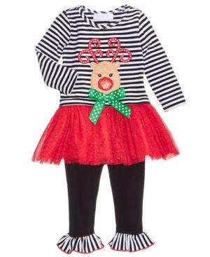 Bonnie Baby 2-Pc. Reindeer Tutu Dress & Leggings Set, Baby Girls thumbnail