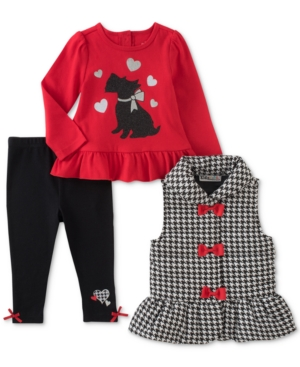 Kids Headquarters 3Pc Houndstooth Vest Printed Tunic  Leggings Set Baby Girls (024 months)