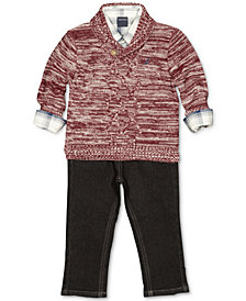 Nautica 3-Pc. Shawl Sweater, Plaid Shirt & Jeans Set, Baby Boys