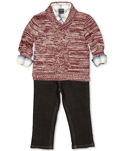3846358d8 Nautica 3-Pc. Shawl Sweater, Plaid Shirt & Jeans Set, Baby Boys ...