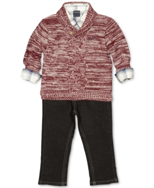 Nautica 3Pc Shawl Sweater Plaid Shirt  Jeans Set Baby Boys (024 months)