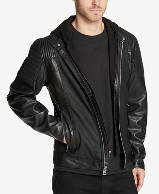 Guess Men S Faux Leather Moto Jacket With Hooded Inset Coats