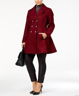 laundry by shelli segal plus size wool-blend skirted peacoat, a