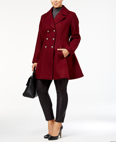 Laundry by Shelli Segal Plus Size Wool-Blend Skirted Peacoat, A ...