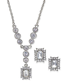 Charter Club Silver-Tone Crystal Pendant Necklace & Matching Stud Earrings Set, Created for Macy's