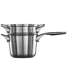 Premier Space-Saving Stainless Steel 4.5-Qt. Double-Boiler Saucepan