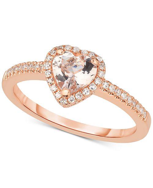 Macy's Morganite (5/8 ct. t.w.) & Diamond (1/6 ct. t.w.) Ring in 14k Rose Gold