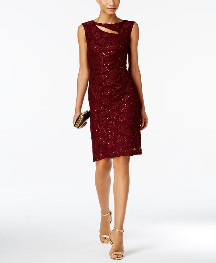 Connected - Sequined Lace Cutout Sheath Dress