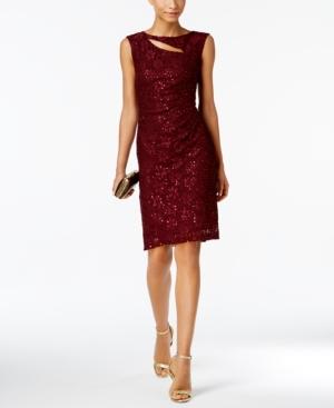 Sequined Lace Cutout Sheath Dress