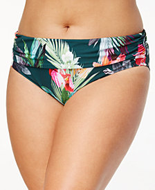 La Blanca Plus Size Beyond the Jungle Printed Tummy-Control Foldover Bikini Bottoms