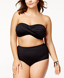La Blanca Plus Size Twist Bandeau Top & High-Waist Tummy-Control Bikini Bottoms