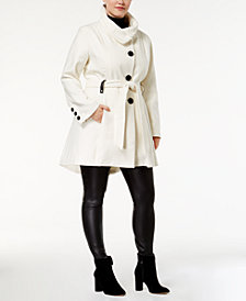 Madden Girl Juniors' Plus Size Stand-Collar Walker Coat