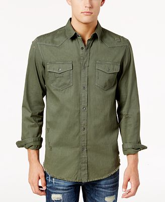 American Rag Men's Distressed Solid Shirt, Created for Macy's