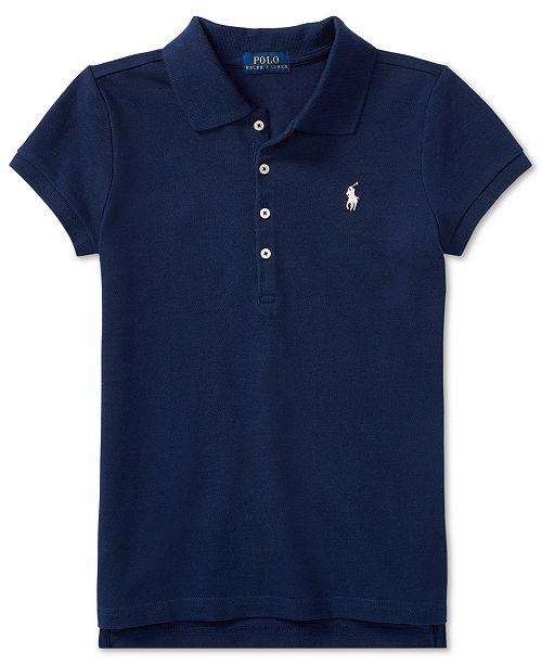 Polo Ralph Lauren Big Girls Stretch Mesh Polo Shirt - Shirts   Tees ... afb7b107bfe0