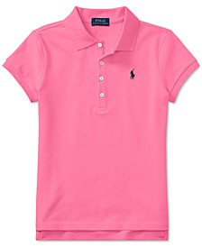 Big Girls Stretch Mesh Polo Shirt