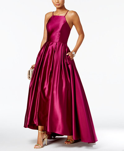 Betsy Amp Adam High Low Satin Gown Dresses Women Macy S