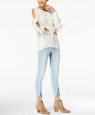 Ultra Flirt Juniors' Cold-Shoulder Sweater & Celebrity Pink Slit-Hem Skinny Jeans