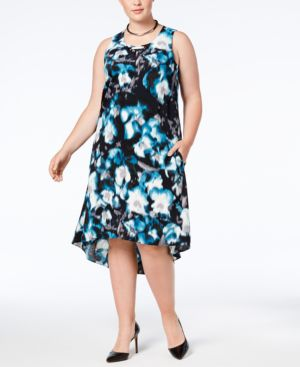 Image of Alfani Plus Size Printed High-Low Dress, Created for Macy's