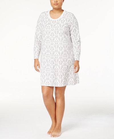 Charter Club Plus Size Thermal Fleece Sleepshirt, Created for Macy's