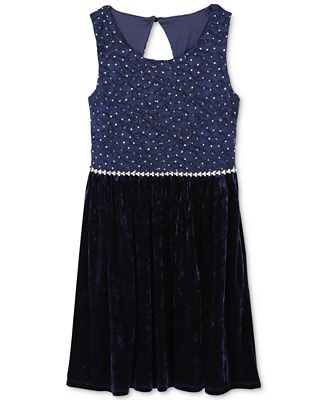 Speechless Glitter Lace & Velvet Dress, Big Girls