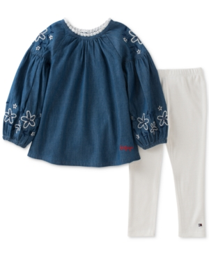 Tommy Hilfiger 2Pc Denim Tunic  Ribbed Leggings Set Little Girls (46X)