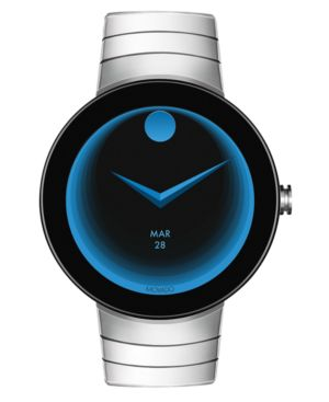 Unisex Swiss Connect Stainless Steel Bracelet Smart Watch 46.5Mm, Black