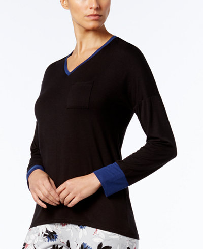 Alfani Colorblock Contrast-Cuff Pajama Top, Created for Macy's