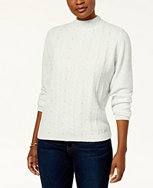Alfred Dunner Petite Embellished Chenille Mock-Neck Sweater
