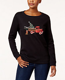 Karen Scott Petite Embellished Holiday Top, Created for Macy's