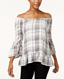 Style & Co Petite Plaid Off-The-Shoulder Top, Created for Macy's