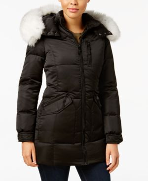Image of 1 Madison Expedition Fox-Fur-Trim Hooded Puffer Coat