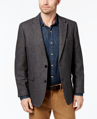 Tommy Hilfiger Men's Slim-Fit Black/Gray Herringbone Sport Coat ...