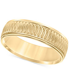 Textured Engraved Band in 14k Gold