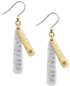 Lucky Brand Two-Tone Double-Layer Linear Drop Earrings