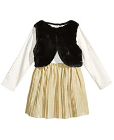 First Impressions 2-Pc. Faux-Fur Vest & Dress Set, Baby Girls, Created for Macy's